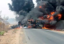 camion d'essence de contrebande en feu pour cause d'accident